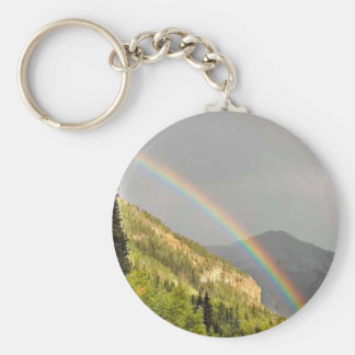 Rainbows on east side of Red Mountain Pass Keychain