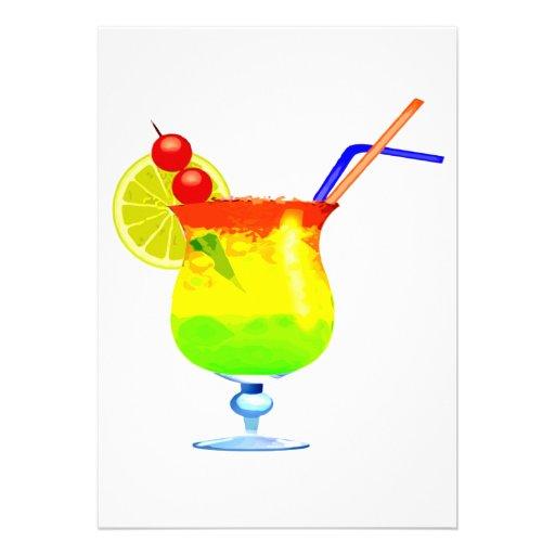 Rainbows Tropical Drink Invitations