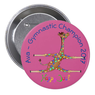 Rainbwo Gymnastics by The Happy Juul Company 3 Inch Round Button
