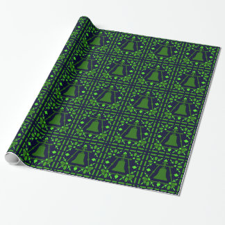 Raincross Blue-Green Stained Glass Wrapping Paper