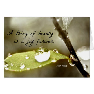 """Raindrop on leaf, with quote: """"A thing of beauty"""" Card"""