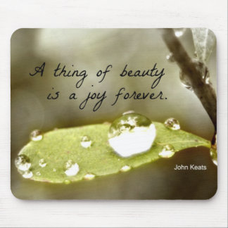 "Raindrop on leaf, with quote: ""A thing of beauty"" Mouse Pad"
