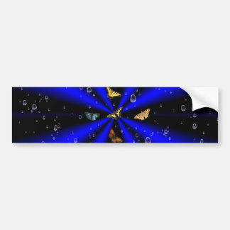 Raindrops and Butterfly on black and blue Bumper Sticker