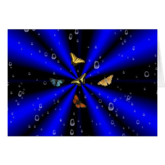 Raindrops and Butterfly on black and blue Greeting Card