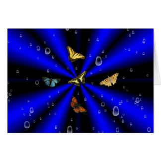 Raindrops and Butterfly on black and blue Note Card