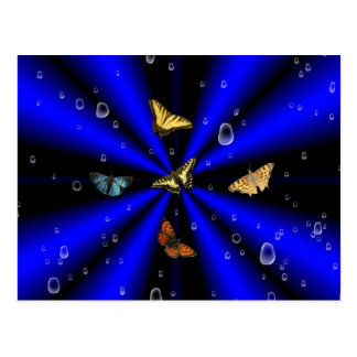 Raindrops and Butterfly on black and blue Postcard