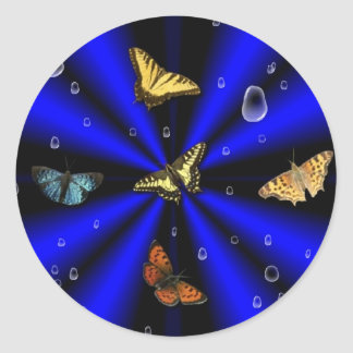 Raindrops and Butterfly on black and blue Round Sticker