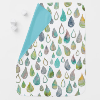Raindrops baby blanket watercolor pattern