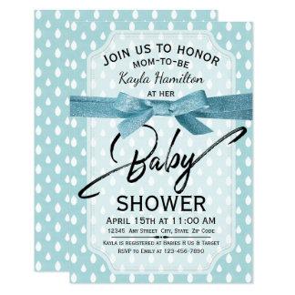 Raindrops Baby Shower Invitations | Blue