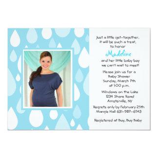 Raindrops Blue Photo Baby Shower Invitation