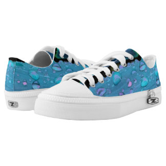 Raindrops Closeup, Spacey Blues Low-Top Sneakers