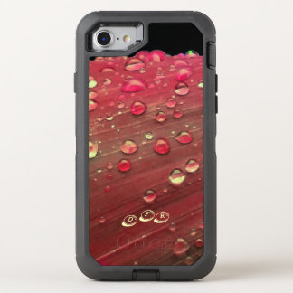 Raindrops Closeup, Spacey Cherry Red OtterBox Defender iPhone 8/7 Case