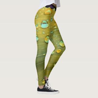 Raindrops Closeup, Spacey Mustard Yellow Leggings