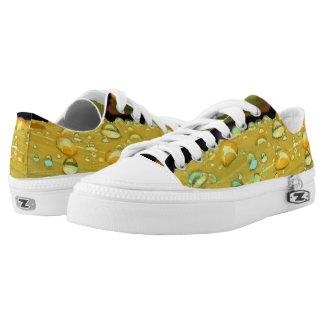 Raindrops Closeup, Spacey Mustard Yellow Low-Top Sneakers
