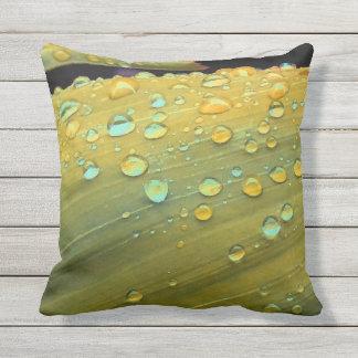 Raindrops Closeup, Spacey Mustard Yellow Throw Pillow