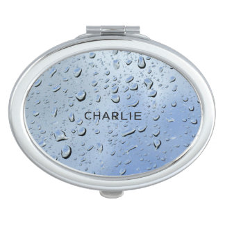 """Raindrops"" custom name pocket mirror"
