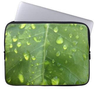 Raindrops on a Leaf Laptop Sleeve