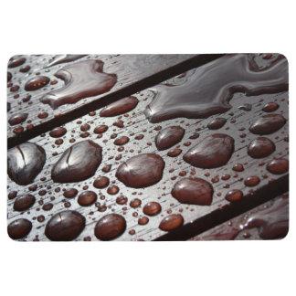 Raindrops on a Wooden Table Floor Mat