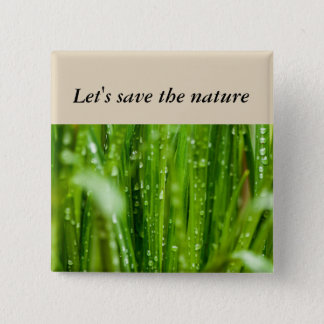 Raindrops on blades of grass 2 inch square button