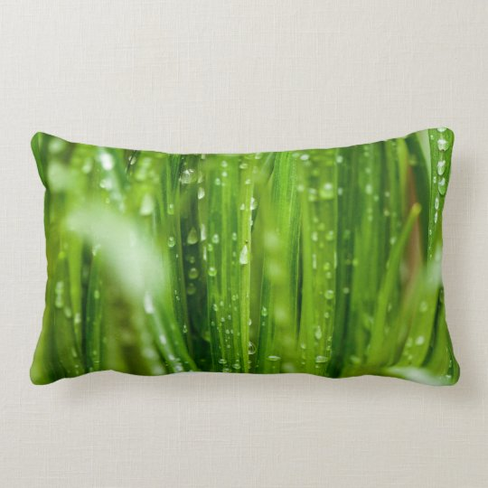Raindrops on blades of grass lumbar pillow