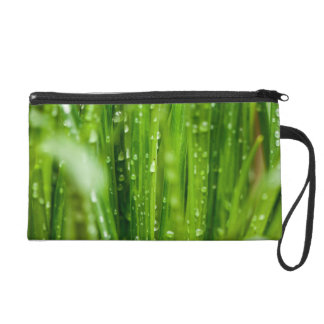 Raindrops on blades of grass wristlet