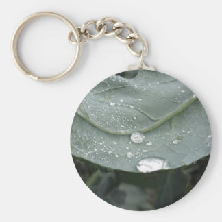 Raindrops on cauliflower leaves keychain