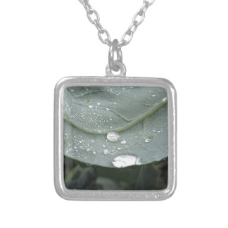 Raindrops on cauliflower leaves silver plated necklace
