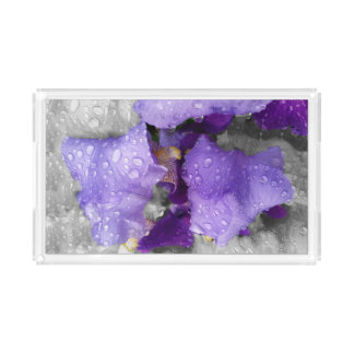 raindrops on iris acrylic tray