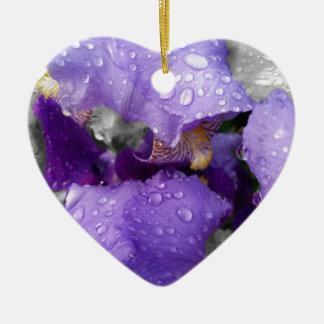 raindrops on iris ceramic ornament