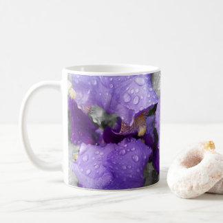 raindrops on iris coffee mug