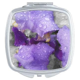 raindrops on iris compact mirror