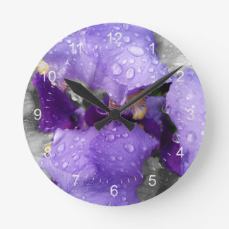 raindrops on iris round clock
