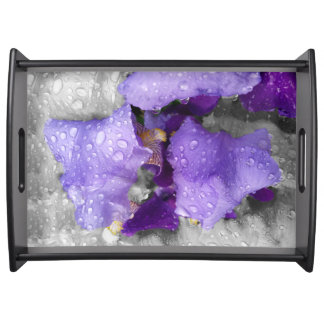 raindrops on iris serving tray