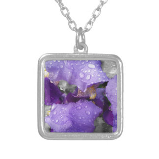 raindrops on iris silver plated necklace