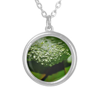 RAINDROPS ON LEAF QUEENSLAND AUSTRALIA SILVER PLATED NECKLACE