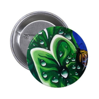 Raindrops on Leaves 2 Inch Round Button