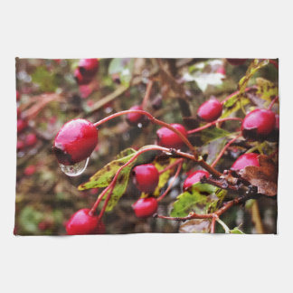 Raindrops On Rosehips Kitchen Towel