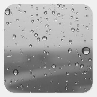 Raindrops On Silver Background Square Sticker