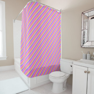 Raindrops rainbow shower curtain