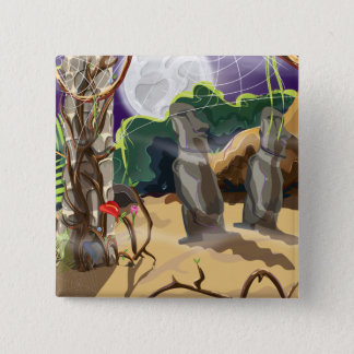 Rainforest Hidden Temple illustration. 2 Inch Square Button