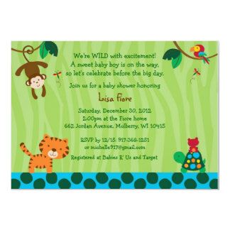 Rainforest Jungle Animal Baby Shower Invitations