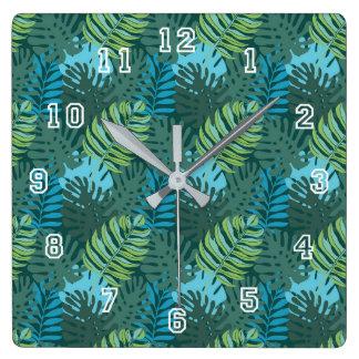 Rainforest Jungle Leaf Pattern Square Wall Clock