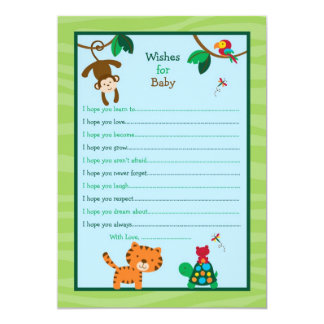 Rainforest Jungle Wishes for Baby Advice Cards