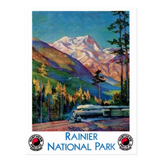 Rainier National Park Vintage Poster Restored Postcard