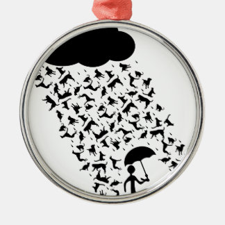 Raining Cats and Dogs Metal Ornament