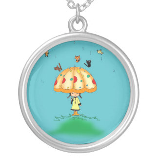 raining cats and dogs silver plated necklace