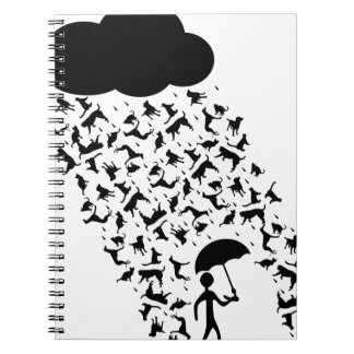 Raining Cats and Dogs Spiral Notebook