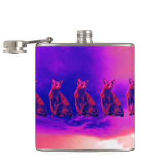 raining cats hip flask