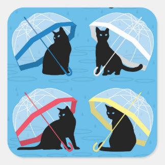 Raining Cats 'n Cats Square Glossy Sticker