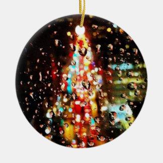 Raining City Lights Holiday Ceramic Ornament